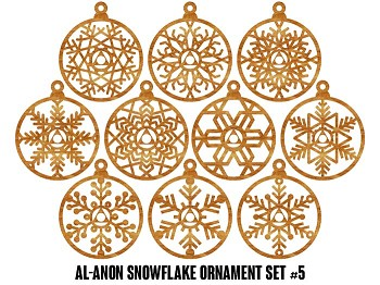 Al-Anon Family Group Snowflake Ornaments - 10 pak Set #5 - 12 Step Holiday Gifts for Al-Anon Members