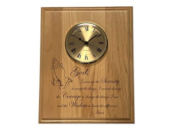 8x10 Praying Hands Serenity Prayer Plaque with Clock