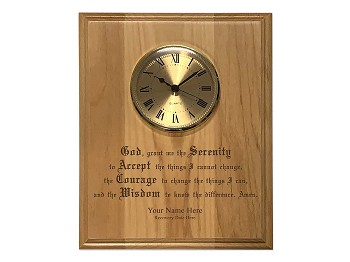 Personalized Serenity Prayer Plaque w/Clock