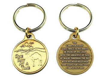 Bronze One Day at a Time Camel Key Charm