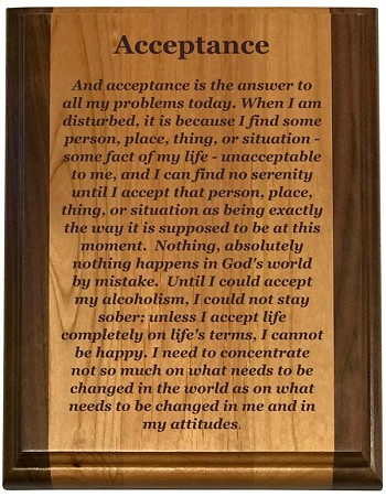 c480e486ff52 Deluxe Acceptance Plaque | Sober Gift Shop and Recovery Gifts at  WoodenUrecover.com