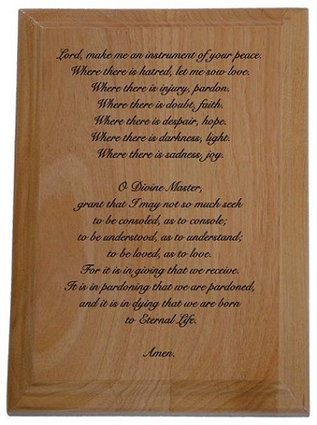 Prayer of St. Francis - Engraved Plaque