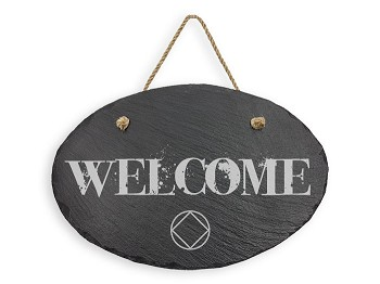 Hanging Slate NA Group Welcome Sign